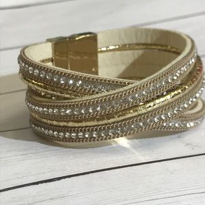 Gold and rhinestone wrap bracelet